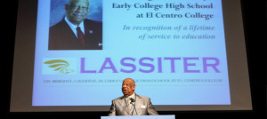 Dr. Lassiter speaks to students and faculty and renaming of school ceremony